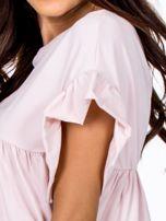 Jasnoróżowa odcinana bluzka z wycięciem łezką z tyłu                                  zdj.                                  6