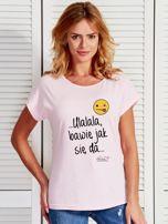 Jasnoróżowy t-shirt damski BAWIĘ JAK SIĘ DA by Markus P                                  zdj.                                  1