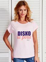 Jasnoróżowy t-shirt damski DISKO W POLU by Markus P                                  zdj.                                  1
