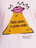 Jasnoróżowy t-shirt damski JESTEM SŁODKA by Markus P                                  zdj.                                  2