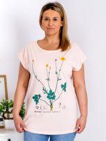 Jasnoróżowy t-shirt z jaskrami PLUS SIZE                                  zdj.                                  1