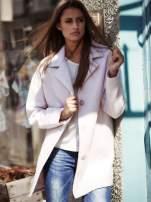 Jasnoróżowy wełniany płaszcz damski z kieszeniami i kołnierzem                                  zdj.                                  1