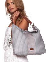 Jasnoszara duża torba z ażurowaniem i odpinanym paskiem                                  zdj.                                  6