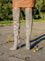 Jasnoszare zamszowe kozaki na szpilkach za kolano                                                                          zdj.                                                                         4