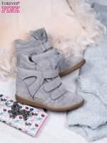 Jasnoszare zamszowe sneakersy na rzepy