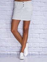 Jeansowa minispódnica w biało-granatowe paski