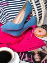 Jeansowe szpilki na różowym obcasie                                                                          zdj.                                                                         5