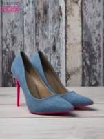 Jeansowe szpilki na różowym obcasie Denim Glam                                  zdj.                                  3
