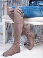 Kawowe zamszowe kozaki faux suede za kolana wiązane na sznurek nad kolanem                                  zdj.                                  1