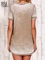 Khak t-shirt z rozcięciami efekt acid wash