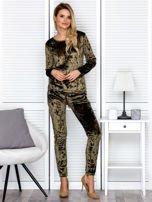 Khaki aksamitna bluza damska                                   zdj.                                  4