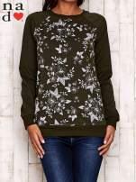 Khaki bluza z kwiatowym nadrukiem