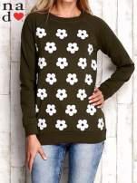 Khaki bluza z nadrukiem kwiatów