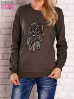Khaki bluza z nadrukiem łapacza snów                                  zdj.                                  1