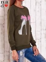 Khaki bluza z nadrukiem szpilek                                  zdj.                                  4