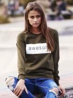 Khaki bluza z napisem AWESOME                                                                          zdj.                                                                         1