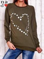 Khaki bluza z wzorem serca                                                                          zdj.                                                                         2