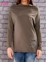 Khaki bluzka z koralikową aplikacją                                  zdj.                                  1