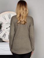 Khaki bluzka z nadrukiem cekinowych gwiazd                                  zdj.                                  2