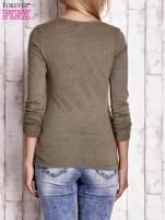 Khaki bluzka z podwijanymi rękawami                                  zdj.                                  4