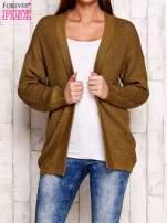 Szary fakturowany otwarty sweter