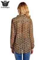 Khaki koszula mgiełka w geometryczne wzory                                  zdj.                                  4