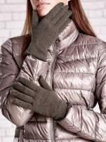 Khaki rękawiczki z błyszczącą nicią z wywijanym mankietem                                                                          zdj.                                                                         1