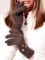 Kremowe rękawiczki z ćwiekami i ściągaczem                                                                          zdj.                                                                         2