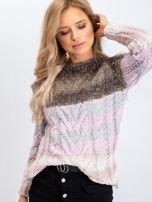 Khaki-różowy sweter Amelia                                  zdj.                                  3