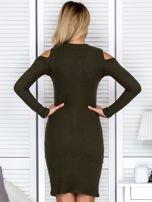 Khaki sukienka cold arms w prążek                                  zdj.                                  2