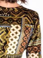 Khaki sukienka midi w patchworkowy wzór                                  zdj.                                  6