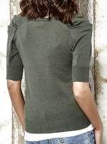 Khaki sweter kardigan z marszczonymi rękawami Funk n Soul                                  zdj.                                  6