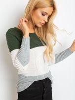 Khaki-szary sweter w szerokie pasy                                  zdj.                                  1