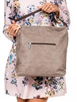 Khaki torba miejska z przeszyciem i drobną fakturą                                  zdj.                                  4