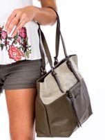 Khaki torba shopper z materiałową wstawką                                  zdj.                                  3