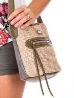 Khaki torebka damska z plecionym modułem                                  zdj.                                  3