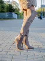 Khaki zamszowe kozaki faux suede na szpilkach za kolano                                  zdj.                                  3