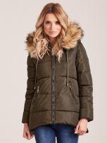 Khaki zimowa kurtka z futerkiem                                  zdj.                                  1