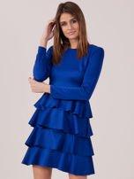 Kobaltowa sukienka z warstwowymi falbanami                                  zdj.                                  2
