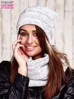 Komplet  biała melanżowa czapka beanie i komin                                  zdj.                                  1