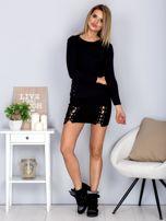 Komplet bluzka z długim rękawem i mini spódnica czarny                                  zdj.                                  4