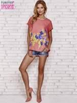 Koralowa koszula z motywem kwiatów                                  zdj.                                  2