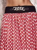 Koralowa spódnica maxi w grochy z ozdobnym pasem                                                                          zdj.                                                                         4