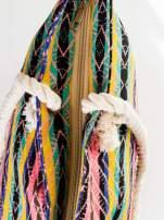 Koralowa torba plażowa w azteckie wzory