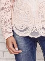 Koralowy ażurowy sweterk mgiełka z rozszerzanymi rękawami                                  zdj.                                  5