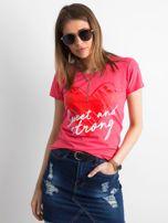 Koralowy damski t-shirt z bawełny                                   zdj.                                  1