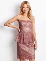 Koronkowa sukienka koktajlowa z baskinką bordowa                                  zdj.                                  1