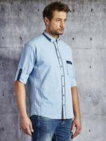 Koszula męska z kieszenią jasnoniebieska PLUS SIZE                                  zdj.                                  3