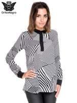 Koszula we wzór zebra print z czarną stójką i mankietami                                  zdj.                                  1