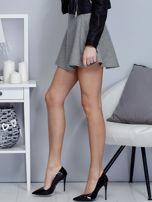 Krótka rozkloszowana spódnica w drobny wzór czarna                                  zdj.                                  3